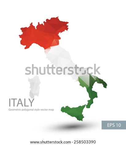 Geometric polygonal style vector map of Italy. Italy flag overlay on Italy map with geometric polygonal.