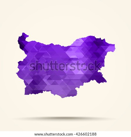 Geometric Purple map of Bulgaria flag colors