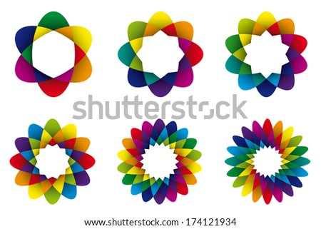 Geometric Rainbow Colored Abstract Flower Symbols. Collection of six rainbow colored geometric flower symbols with different numbers of petals. - stock vector