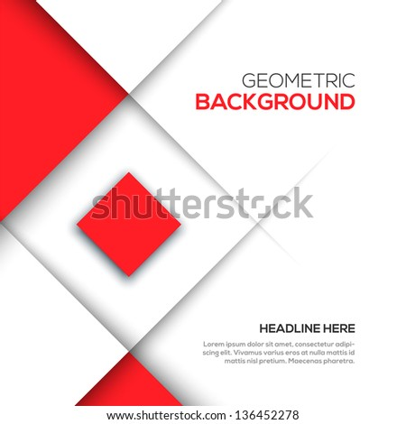 Geometric red 3D background - stock vector