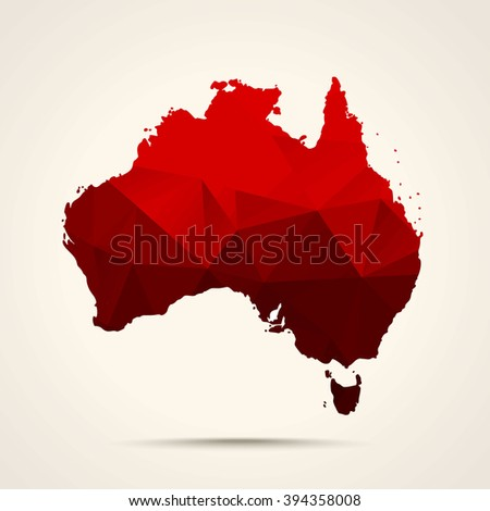 Geometric red map of Australia flag colors
