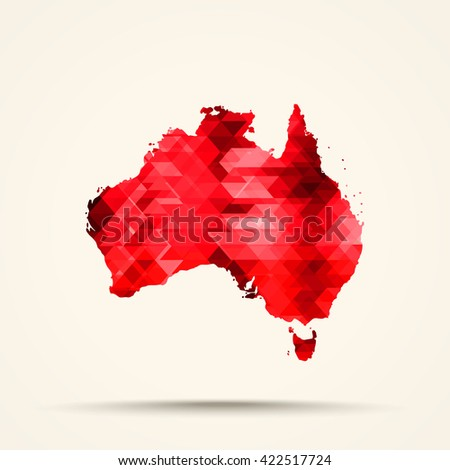 Geometric red map of Australia flag colors - stock vector