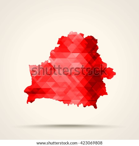 Geometric red map of Belarus flag colors