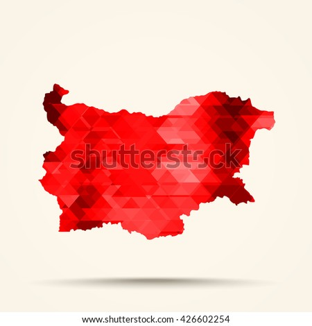 Geometric red map of Bulgaria flag colors