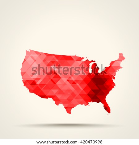 Geometric red map of United States flag colors