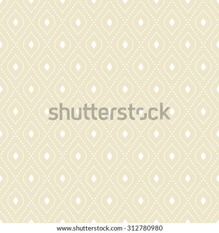Geometric repeating vector beige ornament with diagonal white dots. Seamless abstract modern pattern - stock vector