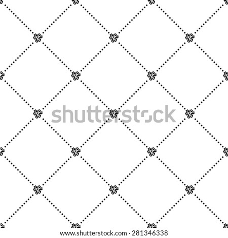 Geometric repeating vector ornament. Seamless abstract modern texture with diagonal dots for wallpapers and background. Black and white colors - stock vector