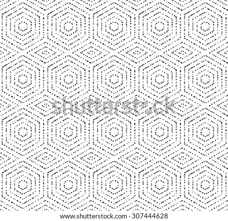 Geometric repeating vector ornament with black dotted hexagons. Seamless abstract modern pattern - stock vector
