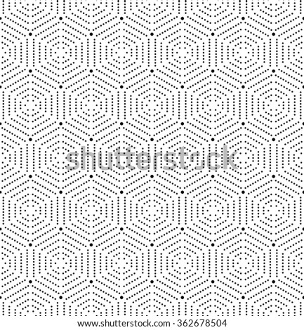 Geometric repeating vector ornament with black hexagonal dotted elements. Seamless abstract modern pattern - stock vector