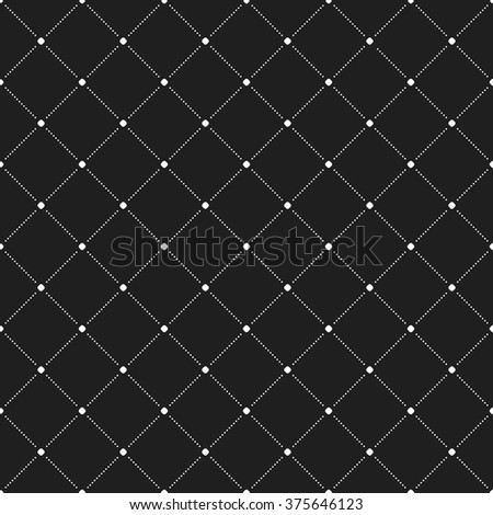 Geometric repeating vector ornament with diagonal dotted lines. Seamless abstract modern black and white pattern