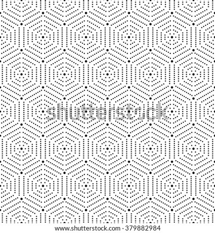 Geometric repeating vector ornament with hexagonal dotted elements. Seamless abstract modern pattern - stock vector