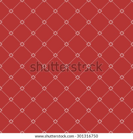 Geometric repeating vector red ornament with white diagonal dots. Seamless abstract modern pattern for wallpapers and backgrounds - stock vector