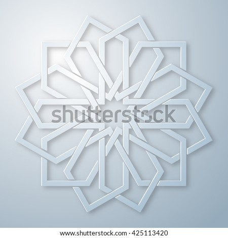 Geometric round arabic ornament with intertwining lines. Element for design in oriental style. Vector illustration. - stock vector