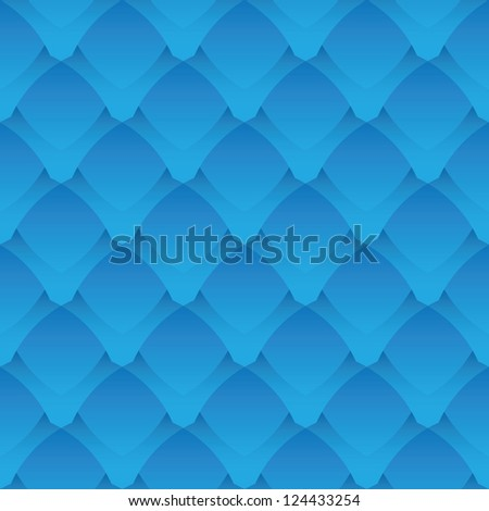 Geometric seamless pattern - a fantastic blue scales - stock vector