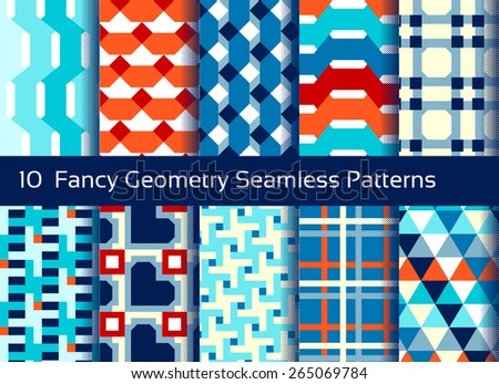 Geometric seamless pattern background. Set of 10 abstact motifs. Colorful shapes composition - stock vector
