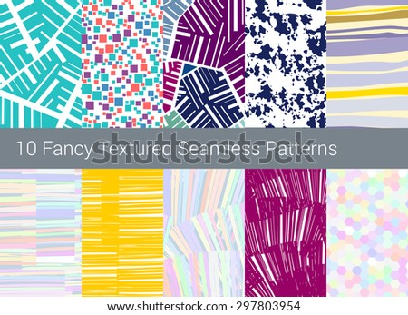 Geometric seamless pattern background. Set of 10 abstract motifs. Colorful shapes compositions, noise, grunge textures, brush stroke imitations - stock vector