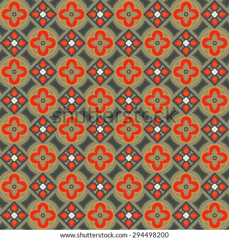 Geometric seamless pattern. Decoration for wallpaper, fabrics, tiles and mosaics. Floral elements, ornate background. Editable vector file.
