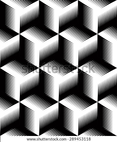 Geometric seamless pattern, endless black and white vector regular background. Abstract covering with 3d superimpose figures. - stock vector