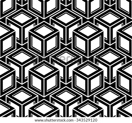 Geometric seamless pattern, endless black and white vector regular background. Abstract wallpaper with 3d overlay figures.