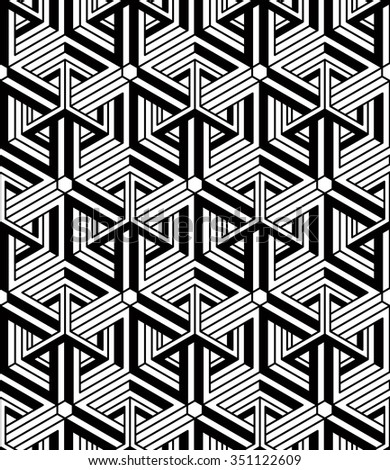 Geometric Seamless Pattern Endless Black And White Vector Regular Background Abstract Wallpaper With 3d