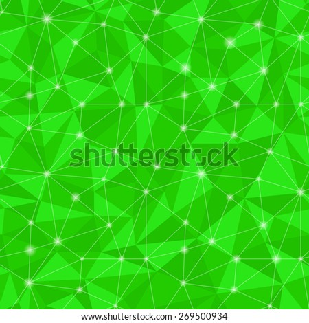 Geometric seamless pattern  from triangles. Green vector illustration - stock vector