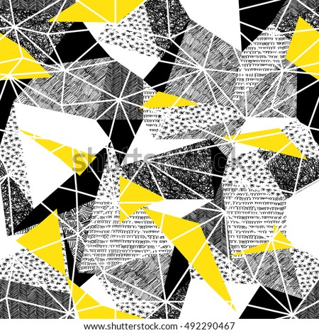 Geometric seamless pattern in retro style. Vintage background.Triangles and hand drawn patterns. Low poly seamless repeat pattern. Vector pattern. Black and Yellow Wireframe Background
