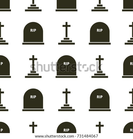 Geometric seamless pattern of grave and rood. Halloween flat icon symbols in black color on white background.