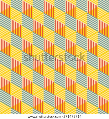 geometric seamless pattern of striped rhombuses. each detail in separate layer. - stock vector
