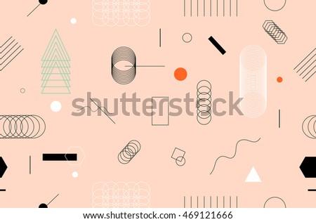 Geometric Seamless Pattern. Stylish Trendy Fabric. Modern Abstract Wallpaper.  Vector Illustration.