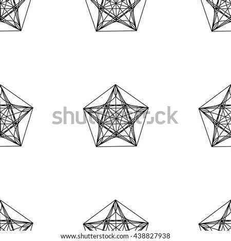Geometric seamless pattern vector black and white retro