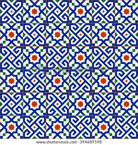 Geometric seamless  pattern  white Turkish, Moroccan, Portuguese  tiles, Azulejo, Arabic ornament. Islamic art.   Can be used for wallpaper, pattern fills, web page background,surface textures. - stock vector