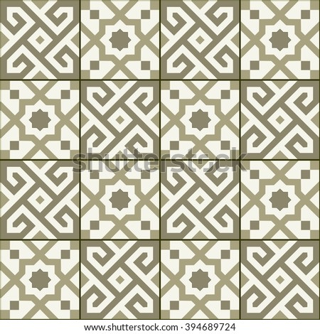 Geometric seamless  pattern  white Turkish, Moroccan, Portuguese  tiles, Azulejo, Arabic ornament. Islamic art.  The sepia colors - stock vector