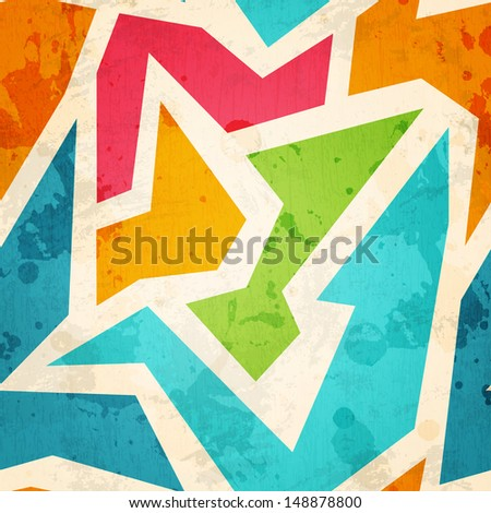 geometric seamless pattern with grunge effect - stock vector