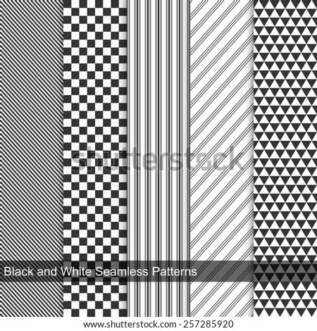 Geometric seamless patterns. Black and white texture - stock vector