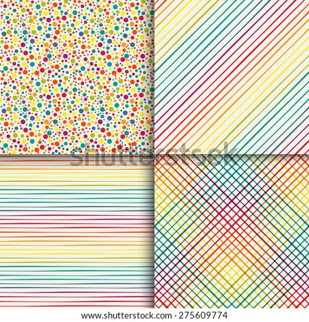 Geometric seamless patterns set in vintage rainbow colors. Simple textures. Template for your design. Vector illustration - stock vector