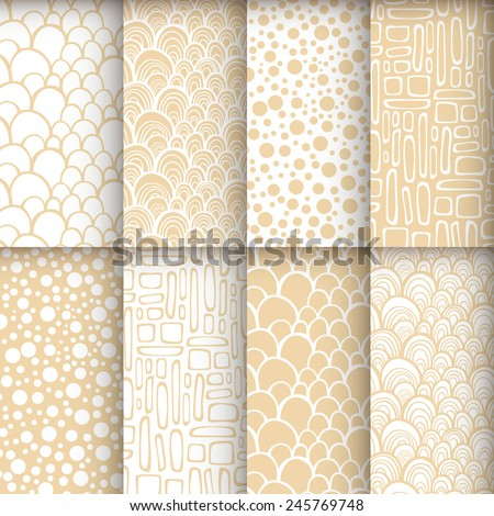 Geometric seamless patterns set. Neutral backgrounds. Vector illustration - stock vector