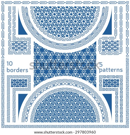 Geometric seamless patterns. Set of 10 abstract frame border motifs and 5 ornaments in oriental style. Pattern swatches and brushes in vector format included - stock vector