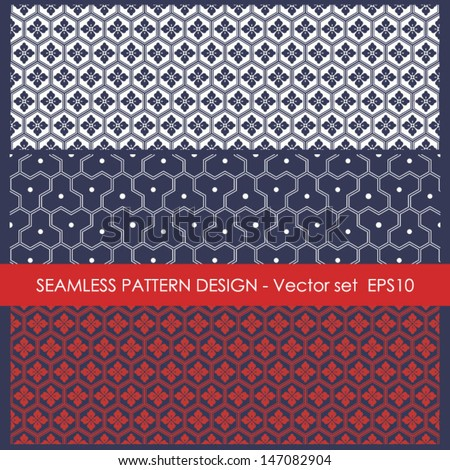 Geometric seamless patterns set, vector backgrounds collection, fashion retro seamless pattern, monochrome vector wallpaper, beautiful vintage fabric, blue wrapping, geometric ornaments for design. - stock vector