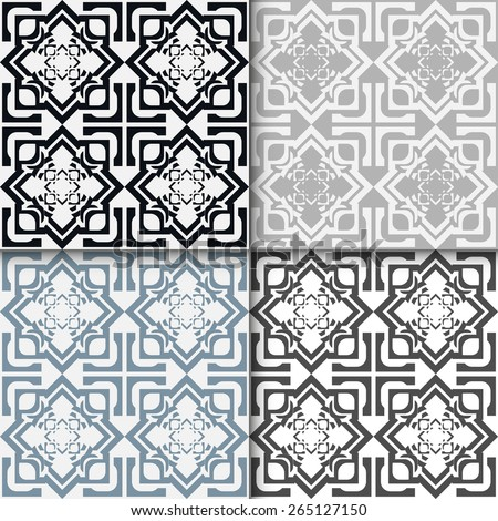 Geometric seamless patterns set. Vector repeating texture, line art. Abstract background. - stock vector