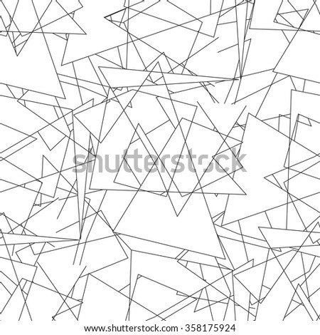 Geometric seamless simple black and white minimalistic pattern, triangles. Can be used as wallpaper, background or texture. - stock vector
