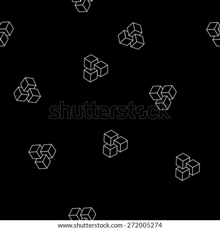 Geometric, seamless, simple, monochrome, minimalistic, pattern of impossible cube shapes - stock vector