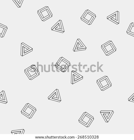 Geometric seamless simple monochrome minimalistic pattern of impossible shapes, rectangles, triangles - stock vector