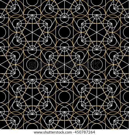 Geometric seamless texture. Vector linear mystical pattern on black background - stock vector
