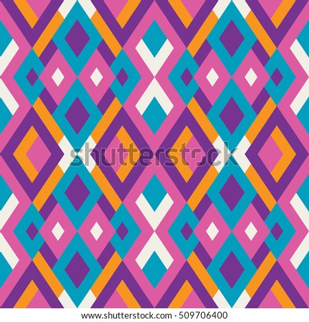 Geometric seamless vector pattern with triangles and squares. Endless abstract background for design in pink, blue and violet colors