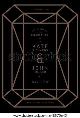 Geometric shape gem diamond wedding invitation stock photo photo geometric shape gem diamond wedding invitation card template vector illustration stopboris Choice Image