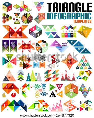Geometric shape infographic template set - triangles, squares, abstract shapes. For banners, business backgrounds, presentations - stock vector