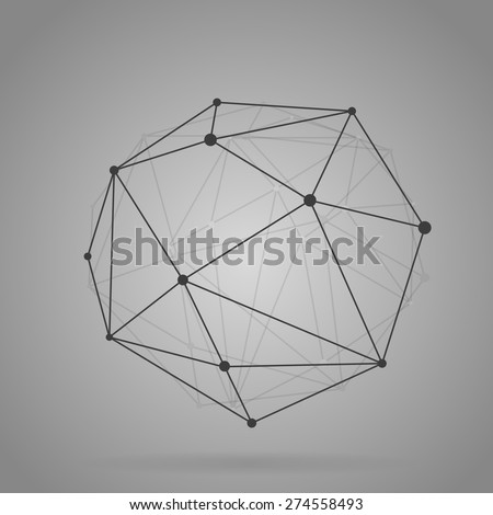 Geometric shape, lines connected with dots, black web