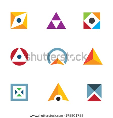 Geometric shape triangle circle and cube inspiring combination icon logo elements - stock vector