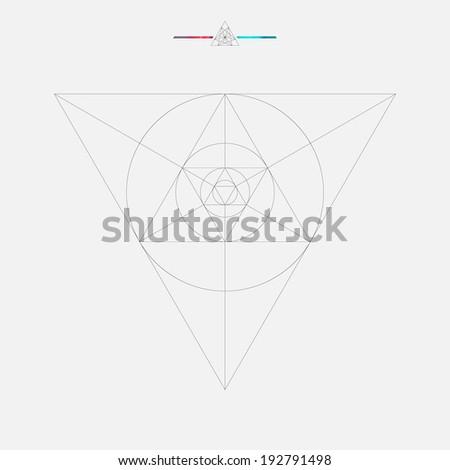 Geometric shape, vector triangle isolated - stock vector
