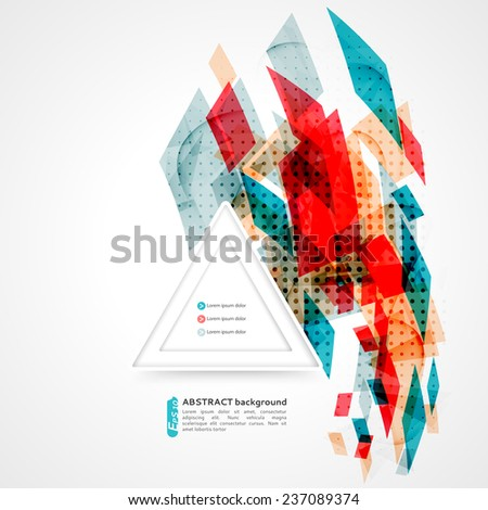 Geometric shapes abstract background, can be used for business presentations, website background, brochure cover  - stock vector